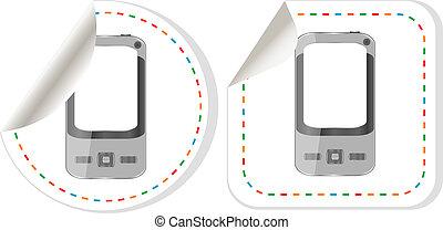 sticker., symbole, smartphone, noir, iphon