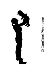 Sticker to car silhouette of mother with child. The Kid is in th