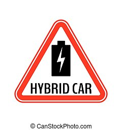 sticker., triangolo, batteria, automobile, energia, ibrido, ...
