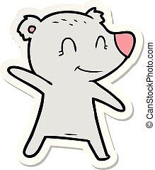sticker, van, een, het glimlachen, beer, wijzende