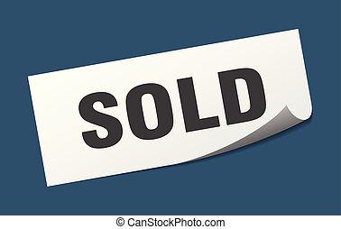 sticker., vendu, carrée, signe., isolé