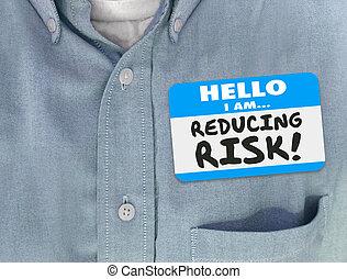 sticker, verantwoordelijkheid, nametag, gevaar, hemd, vermindering, beperkend, mitigator