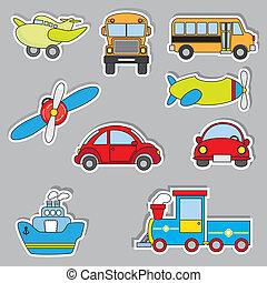 sticker, vervoer, iconen