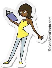 sticker, vrouw, boek, spotprent, lezende
