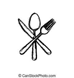 sticker white cutlery icon