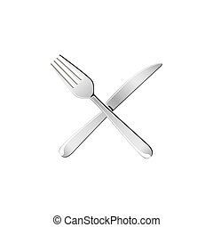 sticker white knife and fork icon