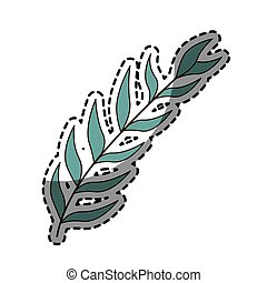 sticker with blue oval leaves with ramifications