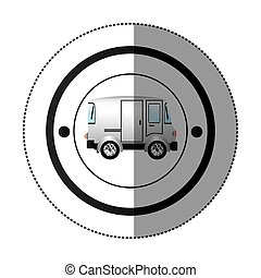 sticker with circular shape with colorful mini van