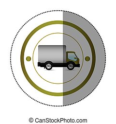 sticker with circular shape with truck and wagon vector...
