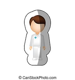 sticker with faceless male nurse