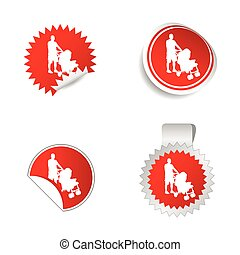 sticker with father and baby vector