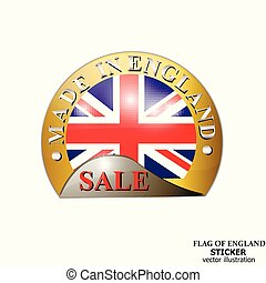 Sticker with flag of England. Happy England day button.