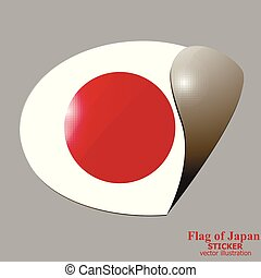 Sticker with flag of Japan. Vector.