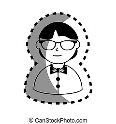 sticker with half body man monochrome with bow tie and glasses