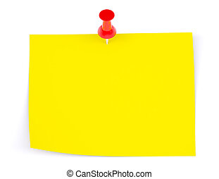 Yellow sticker with red drawing pin on isolated white background, front view