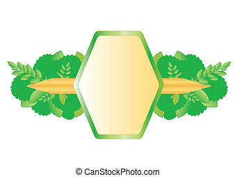 Sticker with the frame of various herbs, isolated