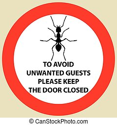 Sticker with Warning sign insect icon ant. Ant Silhouette  Vector