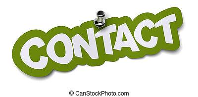 sticker., woord, muur, etiket, geschreven, contact, groene,...