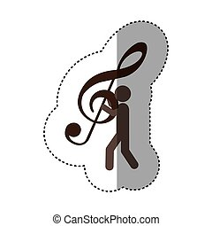 sticker worker holding up sign music treble clef