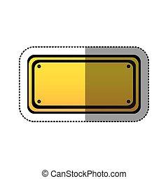 sticker yellow rectangle warning traffic sign