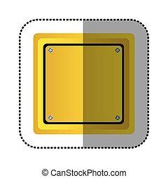 sticker yellow square shape traffic sign icon