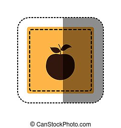 sticker yellow square with apple fruit icon