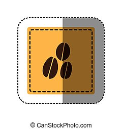 sticker yellow square with coffee beans