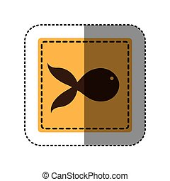 sticker yellow square with fish icon