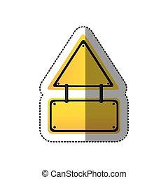 sticker yellow triangle shape warning traffic sign