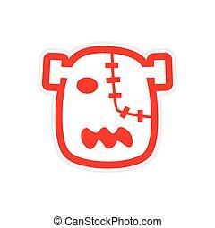 Sticker Zombie head on a white background