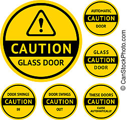 Stickers and Labels on the door. Vector illustration