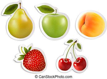 stickers., cinco, vector., fruta