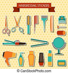stickers., coiffure