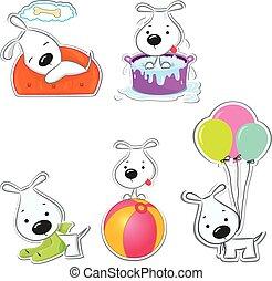 stickers, dogs., morsom