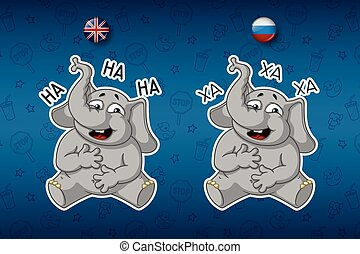 Stickers elephants. Laughs holding her stomach. Big set of stickers in English and Russian languages. Vector, cartoon