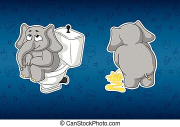 Stickers elephants. Sits on the toilet bowl. Pissing, turning away. Big set of stickers. Vector, cartoon