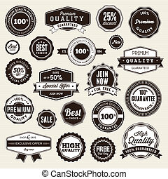 stickers, etiketten, set