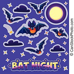 Stickers for children in the form bats