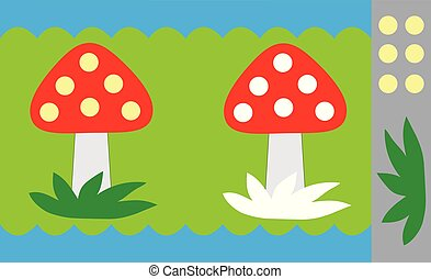 Stickers for children, mushroom (fly agaric). Educational ...