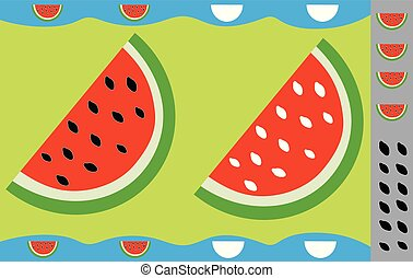 Stickers for children, watermelon. Educational game.