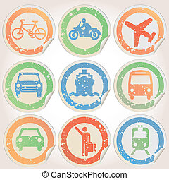 Stickers grunge with transportation