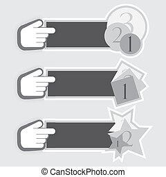stickers, hånd, vektor, kursor