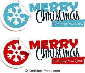 stickers, kerstmis, vrolijk, sneeuwvlok