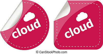 stickers label set business tag with cloud word