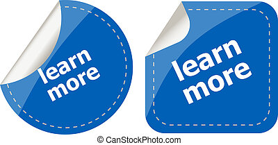 stickers label set business tag with learn more word