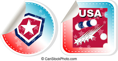 Stickers label set Made in USA