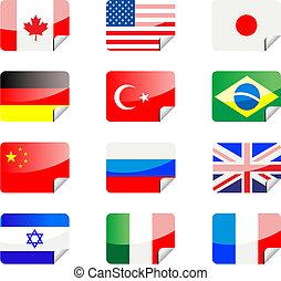 stickers, met, vlaggen