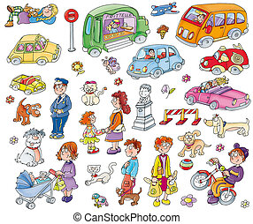 Stickers of children playing with dogs, cats, objects.