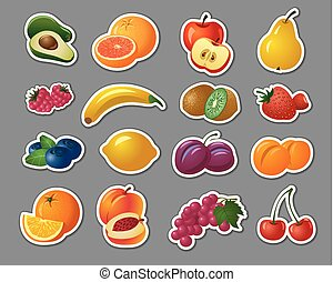 stickers of fruits and berries