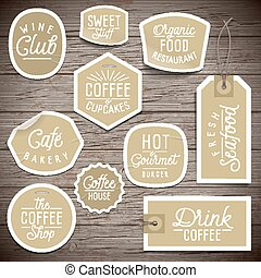 Stickers on rustic wood background for cafe and restaurant